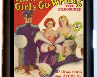 How Do Girls Go Wrong Cigarette Case Wallet Juvenile Delinquent 1930's Kitsch Magazine Cover Art Design Bad Girl Rockabilly