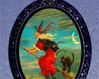 Witch on a Broomstick Pendant Necklace Vintage Halloween Black Cat