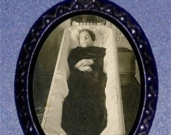 Woman in Coffin Post Mortem Necklace Photography Image Turn of Century Goth Death Portrait Postmortem