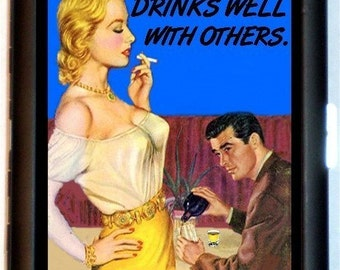 Drinks Well With Others Cigarette Case Business Card Case Wallet Retro Pulp Pinup Humor Drunk Booze