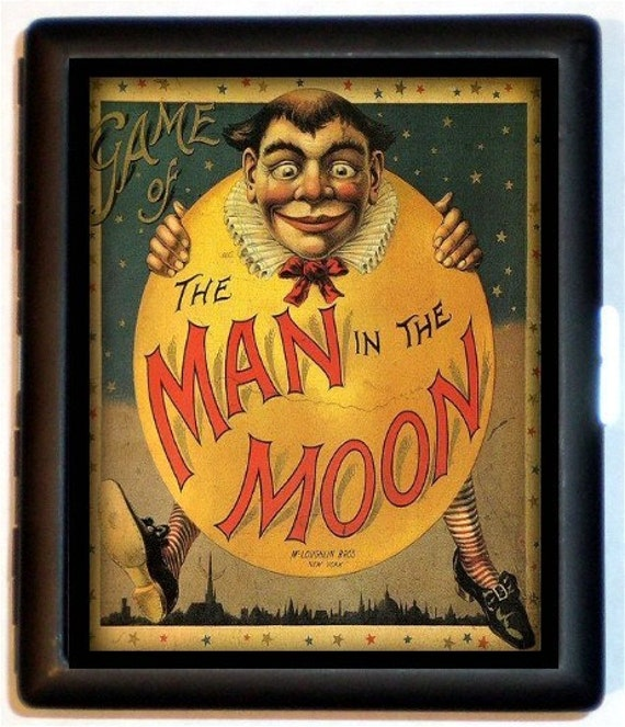 Victorian Man in the Moon Cigarette Case Wallet Business Card Case Fairytale Vintage Game Cover Illustration Design Horror Psychobilly