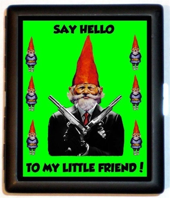 Garden Gnome Cigarette Case Gangster Lawn Gnome Say Hello to My Little Friend Kitsch Funny ID Business Card Credit Card Holder Wallet