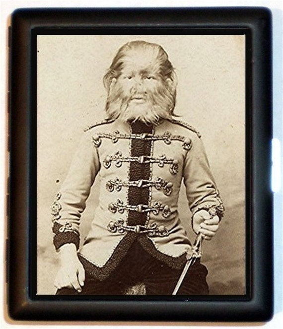 JoJo The Dog Faced Boy Cigarette Case or Wallet Circus Sideshow Victorian Era Imagery