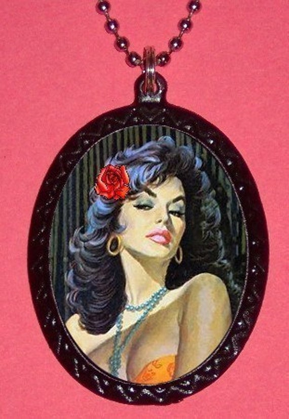 Sixties PINUP Rose Pendant Necklace Retro Classy and Cool Great GIFT Burlesque