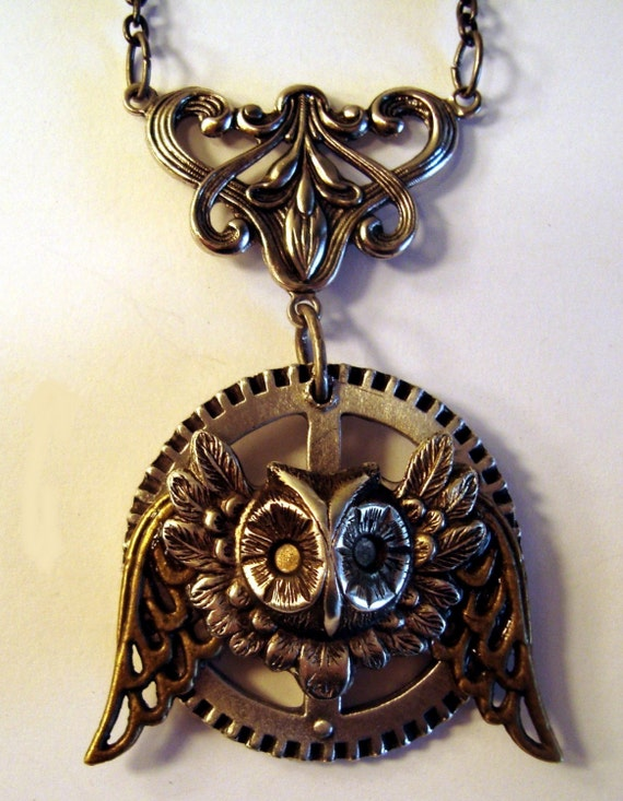 Victorian Steampunk Necklace The INDUSTRIAL OWL Silver-Tone Gear NEW
