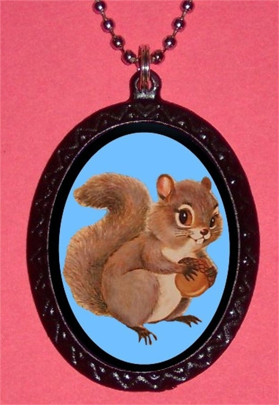 Squirrel Necklace Woodland Creature Kitsch Illustration Kawaii Pendant NEW Cute Adorable Animal