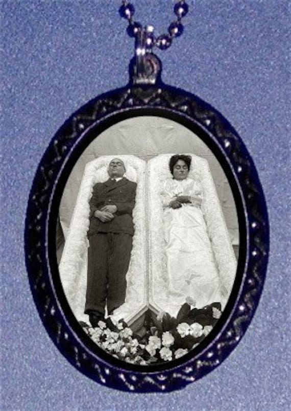 Postmortem Couple Necklace in Two Coffin Victorian Till Death Do We Part Oddity Death Portrait Sleeping Beauty