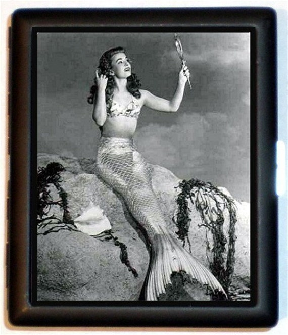 B&W Mermaid Cigarette Case Business Card Case Wallet or MP3 and Earbuds Holder Case Super Sexy Seaside Fifties Pinup