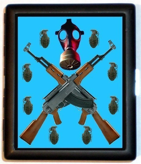 AK-47 Machine Gun Cigarette Case Punk Rock Apocalypse Grenades Apocalyptic Skull Crossbones ID Business Card Credit Card Holder Wallet