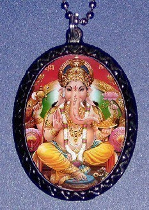 Ganesh Hindu Elephant God Necklace Pendant Eastern Religion Surreal Art