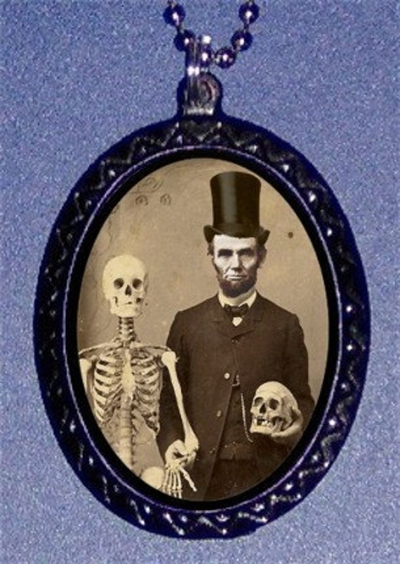 Abraham Lincoln with Skeleton bride Necklace President  and Dead head Friend Handmade Handcasted Pendant Necklace