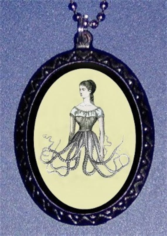 Victorian Surreal Octopus Woman Necklace Pendant New Esoterica Victoriana Weird Strange Oddity Punk Rock