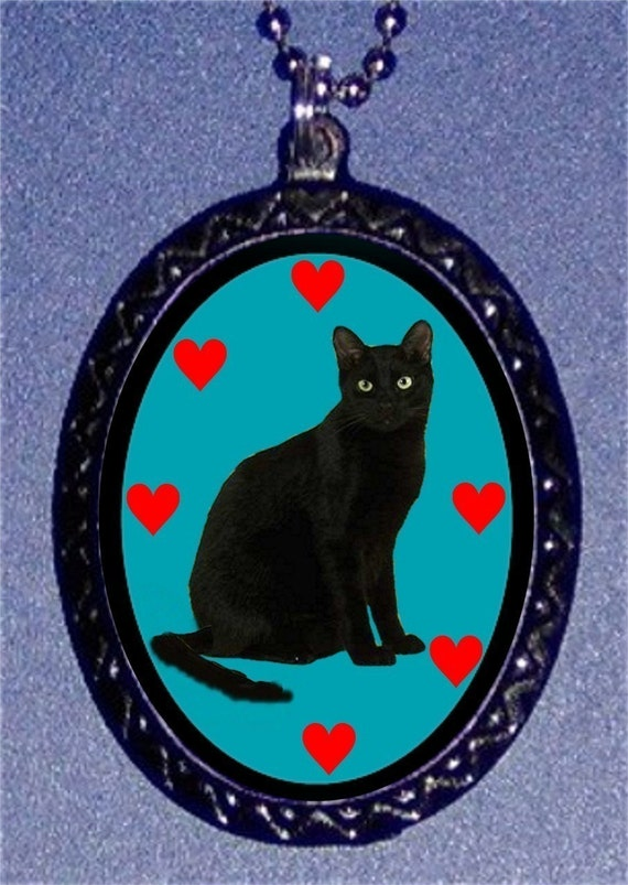 Black Cat Necklace Kitty Cute Bad Luck Pendant Necklace Goth Horror Gothic Vintage Halloween