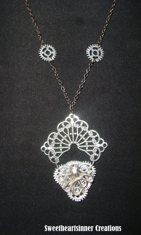 Victorian Steampunk necklace Exquisite Octopus Clock Gear Pendant Fishbait