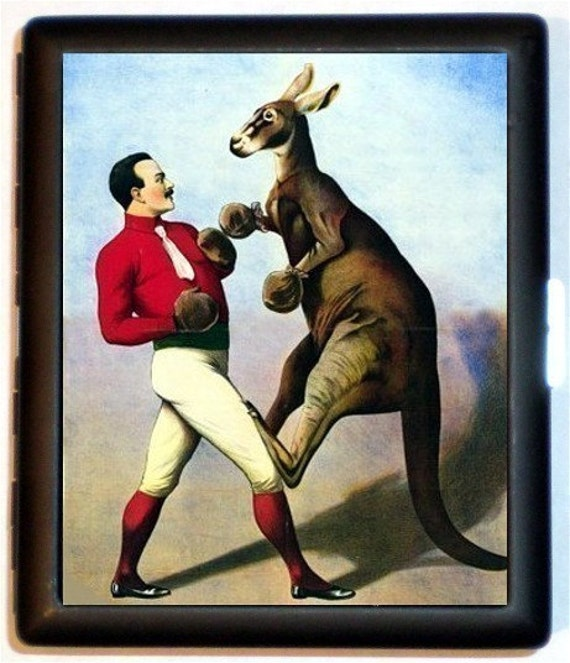 Boxing Kangaroo Cigarette Case or Business or ID Case Wallet Classic Circus sideshow imagery retro kitsch New