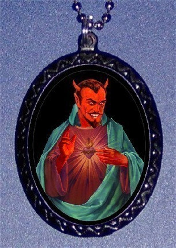 Devil as a Saint Necklace Psychobilly Horror Satan Lucifer Pendant Church of Satan Occult Lowbrow Art
