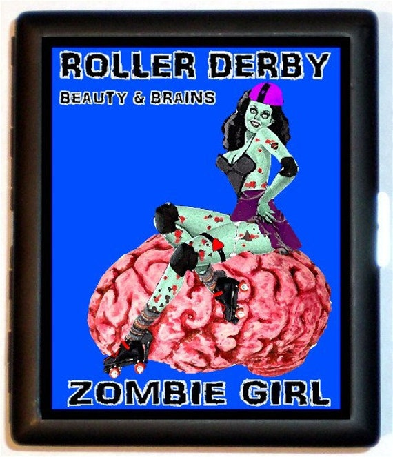 Roller Derby Zombie Pinup Cigarette Case Zombie Pin Up Girl Skaters Skating Beauty Brains ID Business Card Credit Card Holder Wallet