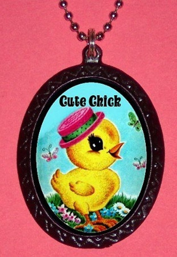 Cute Chick Necklace Baby Chicken Hand Casted Metal Pendant Adorable Kawaii