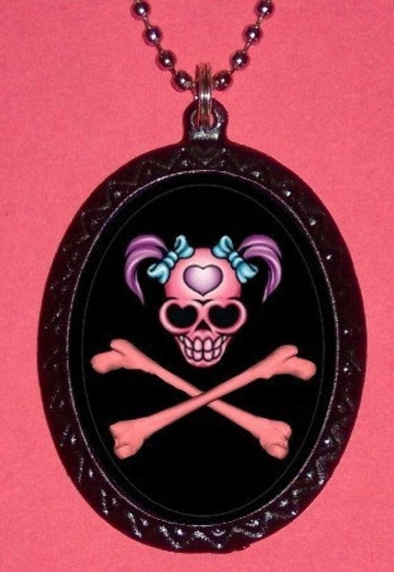 Punk Princess Girlie Skull and Crossbones Pendant Necklace Rocker Gothic