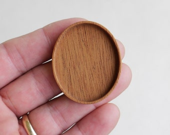 USA Made NO Laser - Brooch Blank - Pendant Setting - Mahogany Wood - 36 x 46 mm - (A1-M)