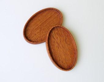 Finished artisan crafted hardwood bezel trays - Mahogany - 28 x 46 mm - (C4-M) - Set of 2