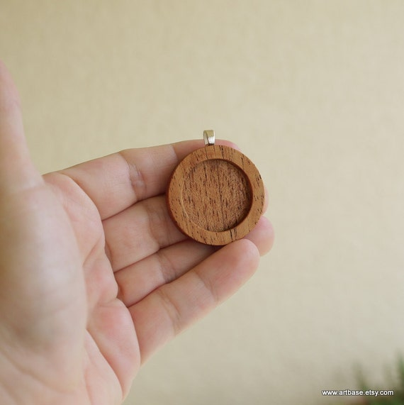 Pendant Blank - Pendant Tray - Wooden Setting - Handmade by Artbase - Mahogany - 1 Inch - Circle - Silver Bail