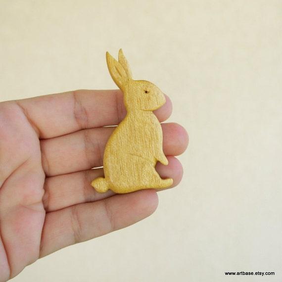 Rabbit - OOAK Handmade Yellowheart Brooch by ArtBASE