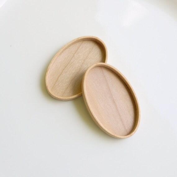 Brooch Blank - Pendant Bezel - Brooch Blank - Wood Setting - Handmade by ArtBASE - Maple - Oval - 28x46 mm - Set of 2 - (C4-Mp)