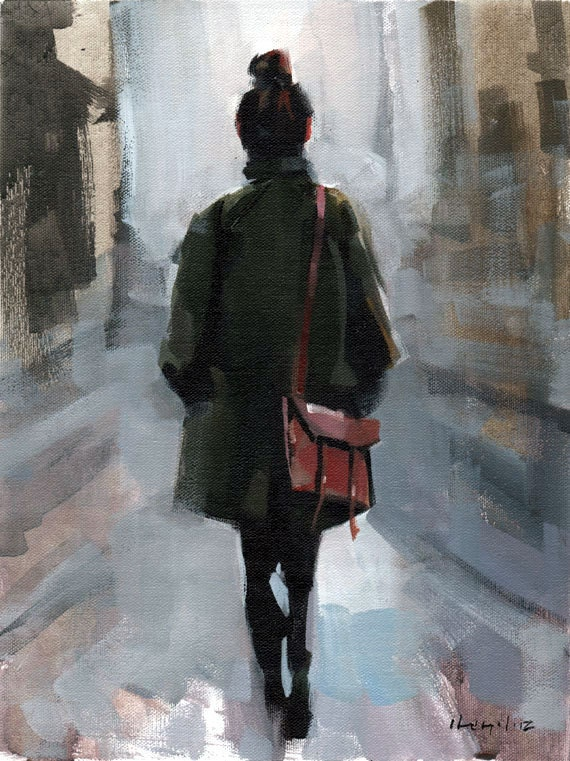 Art Print Figure Woman Fashion Green Coat Urban City 9x12 on 11x14 - Clothed Figure Study 1 by David Lloyd