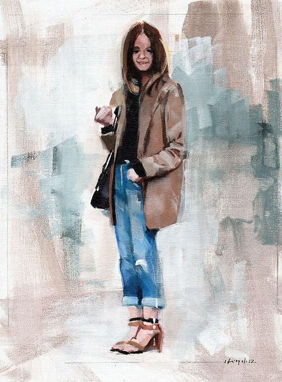 Art Print Figure Woman Fashion Brown Blazer Fashion Urban 9x12 on 11x14 - Clothed Figure Study 4 by David Lloyd