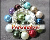 Family Birthstone Necklace Custom Bird's Nest Pendant Mother's Jewelry Grandmother's Jewelry Mother Daughter Necklace Bespoke Vegan Pearl