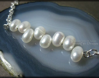 Dancing Pearls Necklace Bridal Jewelry Wedding Jewelry Bridesmaid Gift Idea Freshwater Pearls in a Row Ivory Pearls Silver Chain Dainty RTS