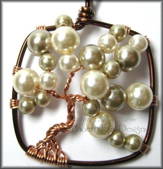 Bubble Tree - Square Tree of Life Pendant in Brown and Copper Wire Wrapped Vegan Glass Pearls Artisan Original Necklace