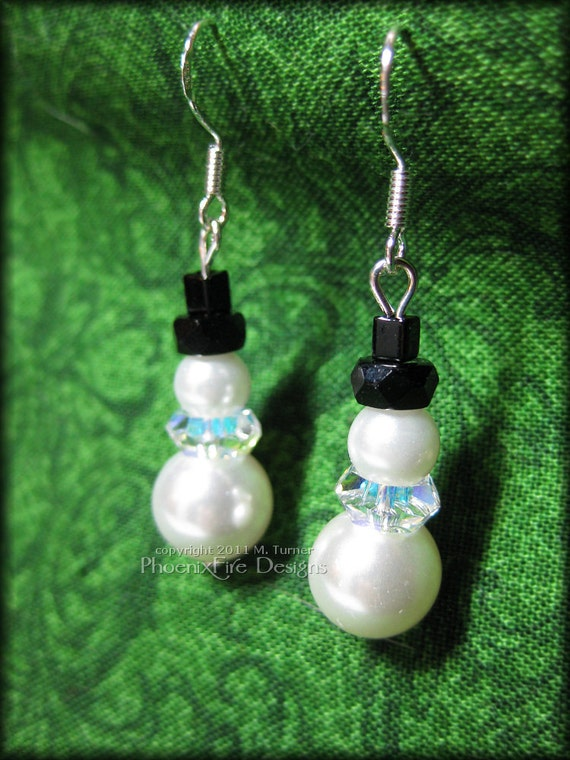 Snowman Christmas Earrings Swarovski Crystal Pearl Sterling Silver Earwires Frozen Olaf Yule Solstice Winter Stocking Stuffer Gift for Her