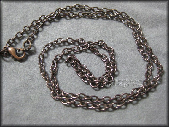 """18"""" to 36"""" Brown Metal Link Chain Necklace Lead Nickle Free Ready to Wear Finished Chain Antique Copper Tree of Life Pendants"""
