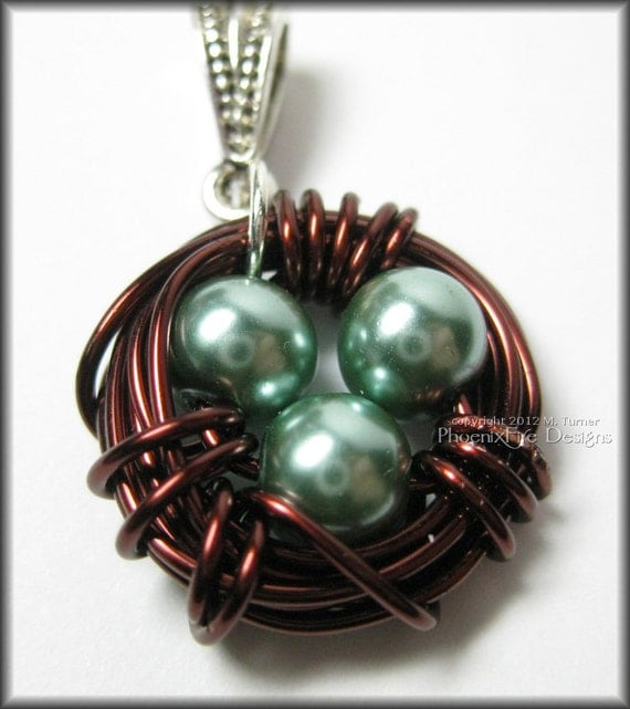 Brown Bird Nest Pendant Teal Blue Glass Pearl Eggs Wire Wrapped Mother's Day Gift Idea