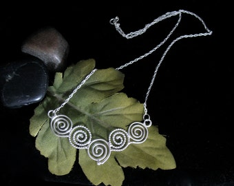 Celtic Spiral Necklace Pendant, Sterling Silver Celtic Designs, Handmade Celtic Jewelry, Celtic Spiral Jewelry, Simple Celtic Jewelry