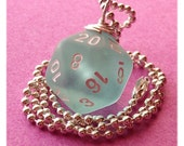D20 Dice Pendant -  Frosted Teal - Geek Gamer DnD Role Playing RPG - Paw & Claw Designs