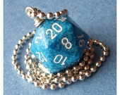 D20 Die Pendant - Water - Dungeons and Dragons - Blue - Geek Gamer DnD Roleplaying RPG