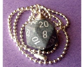 D20 Dice Pendant - Dungeons and Dragons - High Tech - Gray White Geek Gamer DnD Role Playing RPG