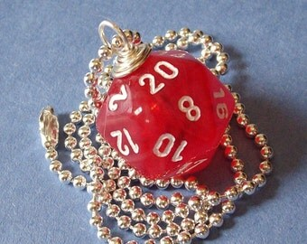 D20 Die Pendant - Dungeons and Dragons - Red Vortex - Geek Gamer DnD Role Playing RPG