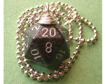 Dungeons and Dragons - D20 Die Necklace - Ninja - Black Gray Silver Geek Gamer DnD Role Playing RPG