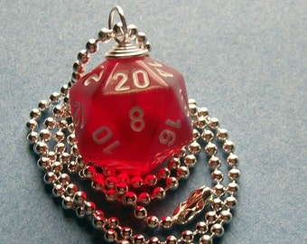 Dungeons and Dragons - D20 Die Pendant - Red Borealis Glitter - Geek Gamer DnD Role Playing RPG