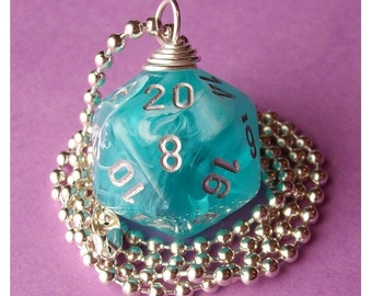 D20 Dice Pendant - Dungeons and Dragons - Aqua Cirrus Teal Swirl - Geek Gamer DnD Role Playing RPG