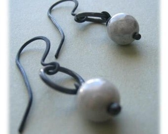 Handmade Sterling Earrings - Slate - Oxidized Metalwork Silver - Paw & Claw Designs