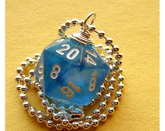 D20 Dice Necklace - Sky Blue Borealis - Geek Gamer DnD Role Playing RPG