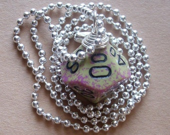 D10P Die Pendant - Dungeons and Dragons - Purple and Olive - Geek Gamer DnD Role Playing RPG