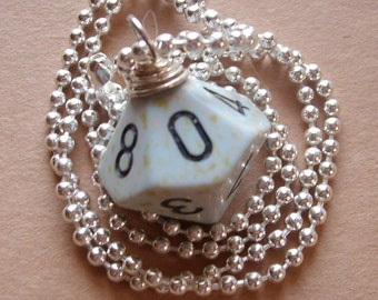 D10 Dice Pendant -  Dungeons and Dragons - Gray Speckled - Geek Gamer DnD Roleplaying RPG