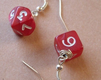 Dungeons and Dragons - D10 D6 Earrings - Red Pearl - Geek Gamer DnD Role Playing RPG - Paw & Claw Designs