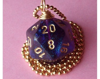 Dungeons and Dragons - D20 Dice Pendant - Royal Purple Borealis - Geek Gamer DnD Role Playing RPG
